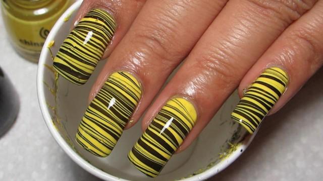 Suda Yapılan Nailart (Watermarble) – Sarı Siyah